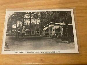 Ridlonville ME Socony Gas Station Pumps Tea Room Tourist Camps RPPC Postcard