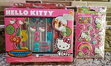 Ear Bud Set Hello Kitty Stickers Beads Gemstones Embroidery Thread- NEW