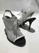 Balenciaga Sandals Heels 40 US 9 White Cut Out Leather Barely Worn