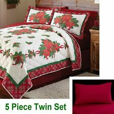 Mainstays POINSETTIA Plaid QUILT & SHAM + Red SHEETS ~ 5pc Twin Set ~ Holly Xmas