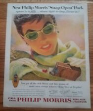"1954 Phillip Morris Cigarettes Vintage Magazine Ad ""New Snap Open Pack"""