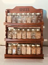 New listing Vintage Griffiths Spice Rack 21 Jar Wood 3 Tier Shelf Gold Lids Wall Mountable