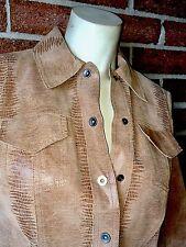 NORDSTROM Classiques Entier Leather Embossed Snakeskin Shirt Jacket Brown $398 6