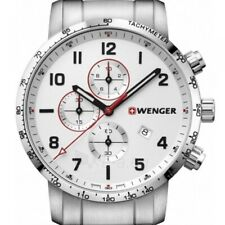 WENGER ATTITUDE CHRONOGRAPH SILVER DIAL ST. STEEL MEN'S WATCH 01.1543.110 NEW