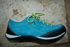 Dark Teal Turquoise Sueded Leather LL BEAN Laced Sneaker Style Shoes 8 M
