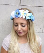 Blue White Rose Orchid Flower Garland Headband Hair Crown Festival Boho 2977
