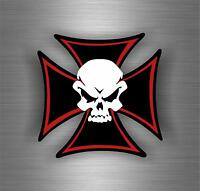 Sticker car motorcycle helmet decal maltese cross skull biker