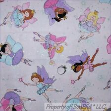 BonEful Fabric FQ Cotton Quilt Pink Purple Butterfly S Girl Ballet Dance Glitter