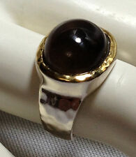 Sterling Silver Hammered Simple Statement Ring Gold Plated Bezel Set Keystone.