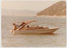 Vintage 70s PHOTO Couple Sitting On Ski Boat On River