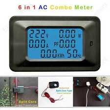 AC 6in1 Multimeter Volt 250V Amp 30A Power Watt Energy Split Core Current Sensor