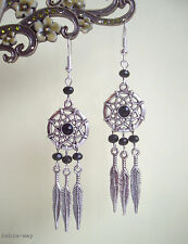 Beautiful Black Crystal Dreamcatcher and Feather Charm Dangly Earrings