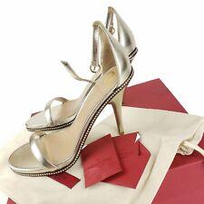 VALENTINO GARAVANI Starcarpet Metallic Crystal Studded Ankle Strap Sandal EU 40