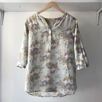 Cabbages And Roses x Uniqlo, Size XS, Floral Linen Top 3/4 Sleeves