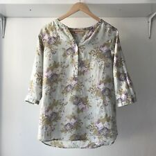 Cabbages And Roses size XS Floral Linen Top 3/4 Sleeves