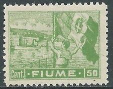 1919 FIUME ALLEGORIE E VEDUTE 50 CENT CARTA C MNH ** - P55-9