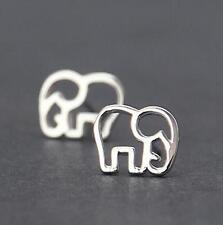 925 Silver Plated Sweet Cute Hollow Elephant Women All_match Party Stud Earrings