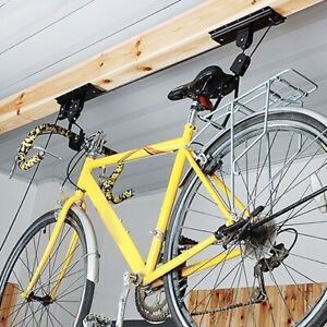 Bike Ceiling Hanger Lift Bicycle Storage Wall Mount Hook Roof Pulley