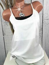 Bluse Top / Blusentop mit Spitze weiß schwarz doppellagig von Aniston Gr. 40