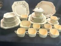 Vintage Leigh Potters Ware Dinnerware Set of 54! Rare Copenhagen Rose  Art Deco