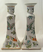 "Candle holders ceramic oriental butterflies floral hand painted  8"" tall vintage"