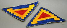 Original 2 VINTAGE WWII U.S. 7th ARMY DIVISION TRIANGLE PATCHES RED YELLOW BLUE