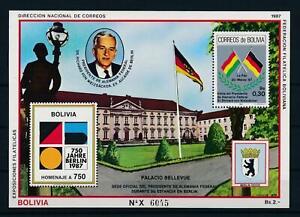 [106009] Bolivia 1987 750 years Berlin Souvenir Sheet MNH