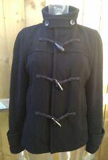 Banana Republic Pour Femme Laine Noire Duffle-coat Taille M UK 12 EUR 40