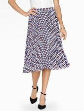 NEW $109 TALBOTS Blue Diamond Cubes Georgette Pleated Skirt Sz M ( 10,12 )