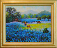 """Bluebonnets of Texas. Original traditional framed oil on canvas 16x20"""" painting."""