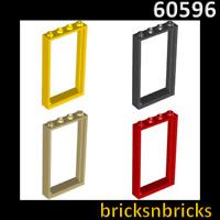 LEGO Fenêtre 1x4x6 cadre avec montants intermédiaires noir//avec vitre bleu//1 pièces