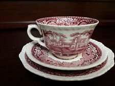 TAZZA DA THE PIATTINO E PIATTO in porcellana MASON'S  Vista Pink / Red  anni 60