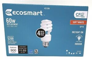 EcoSmart 60W /14W Equivalent Soft White Spiral Four Bulb Pack. CFL 423-599