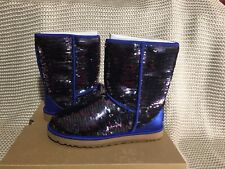 UGG WOMENS BOOTS CLASSIC SHORT SEQUIN NAVY SIZE 7