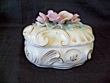 VTG 1950/60s CORDEY Roses PORCELINE Lidded Candy/Trinket Dish #C 029 nice .