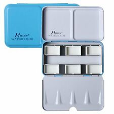 Meeden Empty Watercolor Tins Box Palette Paint Case, Small Blue Tin with 6 Pc#95