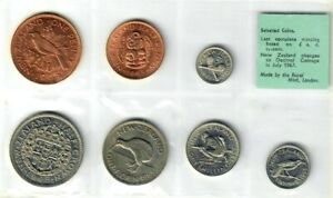 1965 NEW ZEALAND - OFFICIAL SELECTED COINS MINT SET (7) - LAST PRE-DECIMAL