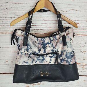 Jessica Simpson Purse Handbag Black Pink Floral Leather Large Dump Purse Shopper