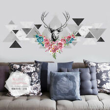 Deer Head Flower Wall Sticker Tringle Decals Vinyl Home Room Decoration Quote