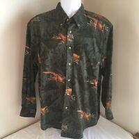 Nautica Mens Button Down Shirt Long Sleeve 100% Cotton Large Pheasants Free Ship