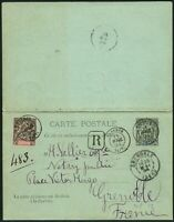 French Oceania 1894 Uprated Registered Double PSC Papeete to Grenoble France / 1