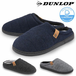 Dunlop Mens Slippers Slip On Mule Faux Fur Lined Felt Memory Foam Size 7-12