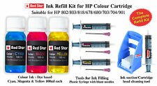 Red Star refill kit for HP color ink cartridge (678,680,802,803,818,703,704,901)