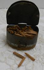 Rare Antique Cobbler's Wooden Nail Pegs in Original Tin Box