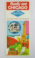 Vintage 1972 CHICAGO GRAY LINE Bus Tour Brochure Map Guide Tourist 1960s Pierres