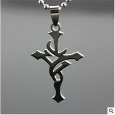 HOT Cross Womens Men's Silver 316L Stainless Steel Titanium Pendant Necklace