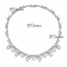 18K WHITE GOLD FILLED SIMULATED DIAMOND WEDDING PARTY NECKLACE LUXURY PEARL