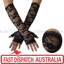 Fingerless Long Sleeve Party Gloves Goth Gothic Punk Floral Lace Stretchy Cuff