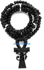 Eye Of Horus On Ankh Smaller Pendant Necklace With 30 Inch Long Wood Bead Chain