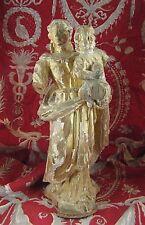 ancienne statue religieuse sainte marie vierge a l enfant bois doré epoque XVIII